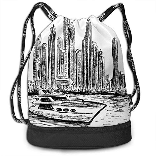 ttan Cityscape Hand Drawn Lightweight and Portable Drawstring Bag Backpack Bundle Backpack ()