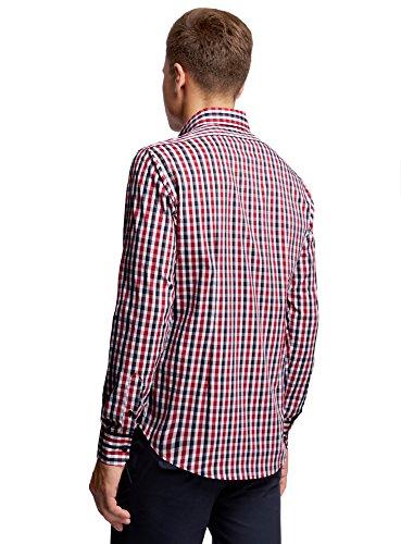 oodji Ultra Herren Karohemd Slim Fit Rot (4510C)