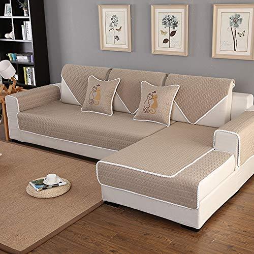 Protector de sofá lavable algodón los muebles para niños mascotas,Sofá composable antideslizante tiro cojín color sólido sofá cubierta para l sofá en forma de u para toda temporada-1 pieza-D 90x180cm(35x71inch)