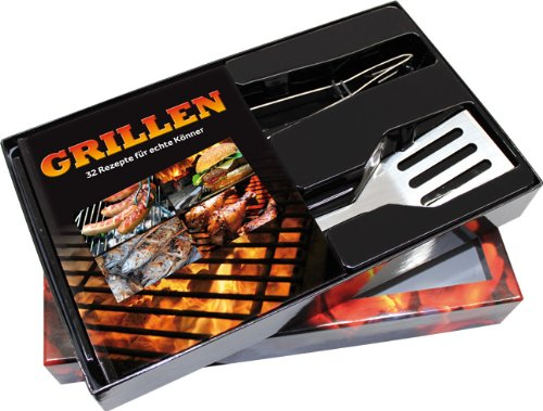 Preisvergleich Produktbild Buch-Box Grillen. 32 Rezepte für echte Könner: Buch + Grillzange und Pfannenwender