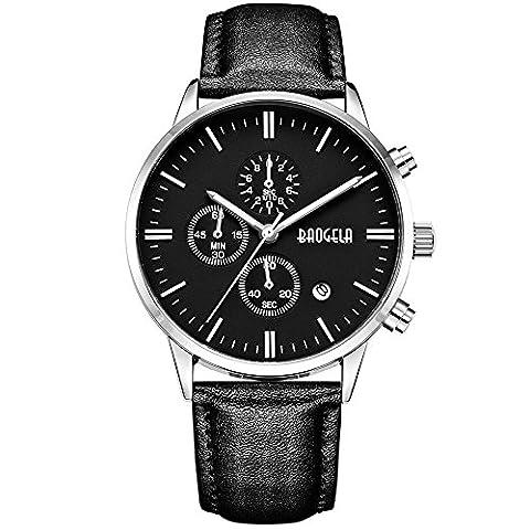 Montre Bracelet Cuir Homme Noir Montres de Sport Ado Quartz Analogique Chronographe Étanche - BAOGELA