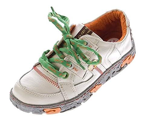 Comfort Damen Leder Schuhe Schnürer TMA 4181 Sneakers Weiß Turnschuhe