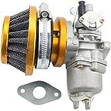 GOOFIT Filtro de Aire Pila carburador Carb 2 Stroke 49cc 47cc Mini Quad ATV Dirt Bike bolsillo amarillo