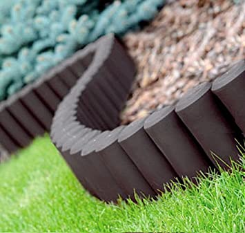 GARDEN FENCE LAWN EDGING BORDER EDGE HAMMERED PALISADE FENCING PLASTIC  2,80m (Brown): Amazon.co.uk: Baby