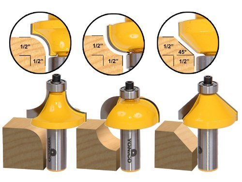 Yonico 13312 3 Bit Edging Router Bit Set with Large Roundover Cove and Chamfer 1/2-Inch Shank by Precision Bits.com -