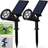 Solar Lights,Solar Powered Spotlight 2-in-1 Adjustable In-Ground Light Landscape Wall Light Waterproof Security Light for Outdoor Yard Garden Lawn - Auto-On / Off - The 3rd Gen 2 pack