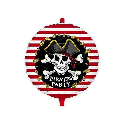 Big party- palloncino in foil con stampa teschio pirata, colore bianco,rosso e nero, 61527