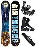 AIRTRACKS SNOWBOARD KOMPLETT SET / MIDNIGHT CARBON SNOWBOARD WIDE ROCKER + SOFTBINDUNG SAVAGE + SOFTBOOTS + SB BAG / 152 157 159 / cm