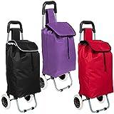 TecTake Carro carrito de la compra plegable con ruedas cesta con bolsillo extra - disponible en diferentes colores - (Rojo)