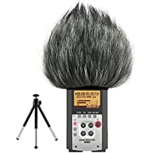 First2savvv TM-H4N-A01G6 Micrófono Externo Peludo Parabrisas Manguito Para Grabadores digitales para Zoom H4N . H4NSP . BOYA-V02 + Mini trípode