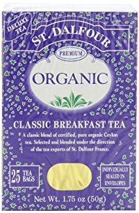 ST. DALFOUR Organic Tea, Tea Bags, Classic Breakfast, 1.75-Ounce Bags, 25-Count Boxes (Pack of 6)