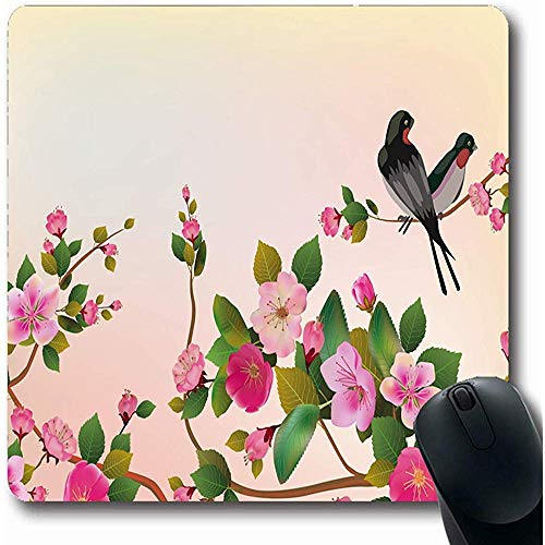 Mousepad,Branch Pink Flower Sakura Bird Spring Nature Red Blossom Cherry Love Birch Tree Design Ink Non-Slip Rectangle Gaming Mouse Pad,22Cmx18Cm -