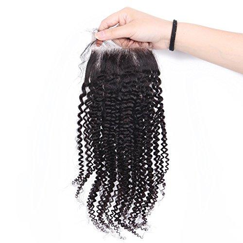 12 Pouces Kinky Bouclés Top Dentelle Fermeture MILIEU Partie (4 * 4) 100% Brésiliens Vierge Extensions de Cheveux Humains Naturel Noir
