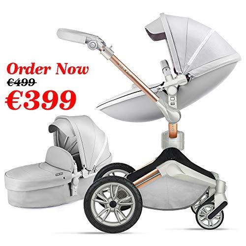 Hot Mom Silla de paseo Reversibilidad rotación multifuncional de 360 grados con buggy asiento y capazo 2020 Nueva actualización (Light Gray) F023