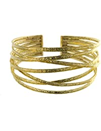 18ct Yellow Gold Bracelet Bangle Solid Cuff Basket-weave
