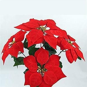Hunt Gold – Ramo de Flores Artificiales, diseño de Flor de Pascua, Color Rojo y Dorado