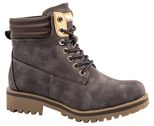Elara Damen Stiefeletten | Profilsohle Schnürer | Worker Boots | Warm Gefüttert | chunkyrayan Grau London