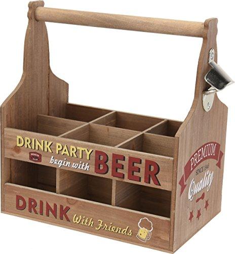 mit Flaschenöffner - DRINK PARTY - Flaschenhalter Bierträger Flaschenkorb ()