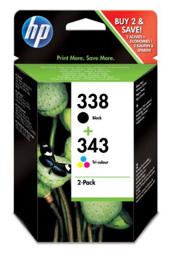 Hp sd449ee 338 + 343 combo-pack inkjet / getto d'inchiostro cartuccia originale