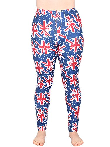 Leggins Damen Leggings leggings mit Muster bunt schwarz weiß elastisch 455 lang ( 4 / L/XL ) - 2