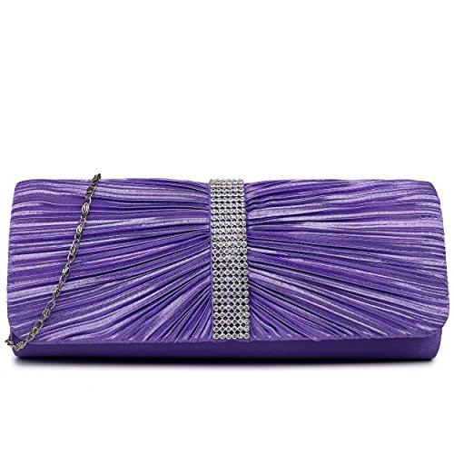 Miss Lulu nouvelle Mesdames Satin Plissé Soirée Mariage Bal Enveloppe d'embrayage sac à main Multicolore - violet