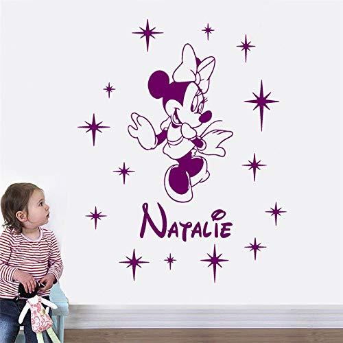 jiuyaomai Personalisierte Mädchen Name Cartoon Wandaufkleber Dekoration Kinderzimmer Kindergarten Aufkleber Benutzerdefinierte Name Wandbild 42x53 cm