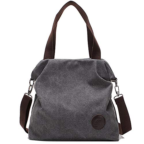 Huttoly Damen Canvas Tasche, Canvas Handtasche Schultertasche Crossbody Bag Tasche Shopper Beuteltasche
