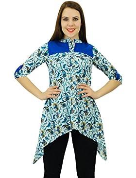 Phagun Kurti étnico diseñador de las mujeres del algodón Kurta Floral y Paisley vestido de la impresión