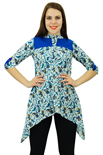 Phagun Kurti Designer Ethnique Coton Femmes Kurta Floral & Paisley Robe Imprimée Blanc et Bleu