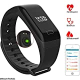 Fitness Tracker, Smart Bracelet Sports Bracelet Pedometer with Heart Rate Monitor Blood Pressure Activity Tracker Calorie Sleep Monitor, IP67 Waterproof Exercise Tracker Smartwatch Wristband Call ID Message Push for Android & iPhone Smartphones(Nero)