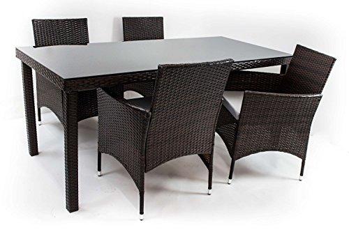 AVANTI TRENDSTORE - Arona - Set di mobili da giardino con 4 sedie e 1 tavolo, in polirattan colore marrone scuro e vetro nero, dimensioni LAP: sedia 60x84x62cm, tavolo 180x74x80cm