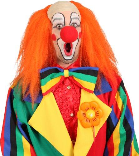 Orlob Clownglatze Glatze mit Haaren in orange zum Clown Kostüm Karneval