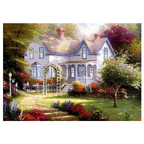DIY diamant malerei kreuzstich, wohnzimmer garten frühling landschaft voller diamanten aufkleber bohren 40 * 30 cm -