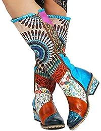 Gracosy Cuissardes Femmes, Bottes Hautes Hiver en Cuir à Talons Carres Moyens Chaussures Ville Plates Montante Bottines Boots Genoux avec Semelle Confortable Design Original Bohème Colorees 2018