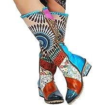 2d55970293e9 gracosy Stiefel Hoch Damen, Leder Stiefel mit Absatz 2019 Winter Schuhe  Rutschfeste Schneestiefel Bunt Druck