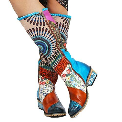 Gracosy donna stivaletti in pelle, scarpe da neve invernali stivali mocassini alti fino ginocchio equitazione bootscerniera tacco basso calzature piatti lunghi caldi blu verde marrone comoda suola