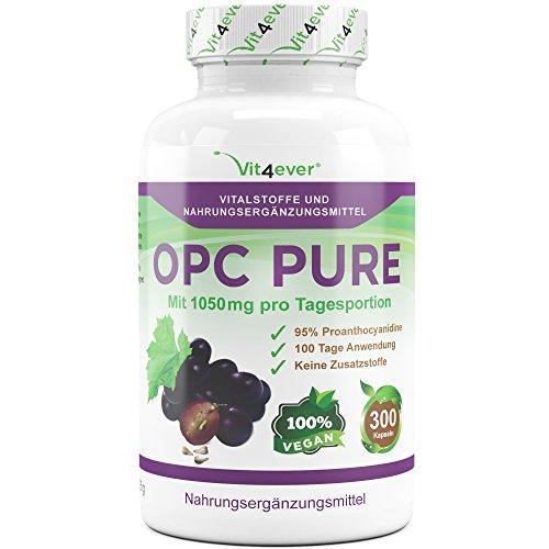 OPC Pure, 1050mg pro Tagesodosierung, 300 vegane Kapseln mit jeweils 350mg Traubenkernextrakt, keine Zusatzstoffe, hochdosiert mit 330mg OPC Gehalt pro Kapsel, 100 Tage Anwendung, Antioxidantien, Vit4ever