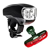 #1: DarkHorse Imported Bicycle 5 LED Headlight and 5 LED Taillight Combo (Black and Red)