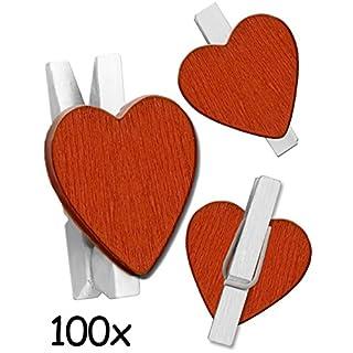HomeTools.eu - 100 hölzerne Mini Wäsche-Klammern Herz | Hochzeit, Deko, Foto-Collage, Hochzeit, Veranstaltungen, Valentins-Tag | 24 mm Holz Rot Weiss