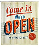 WENKO 21585100 Anti-Schimmel Duschvorhang Vintage Open - waschbar, 100 % Polyester, Mehrfarbig