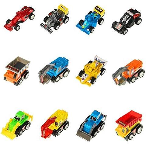 12 Pcs Mini Coche de Retroceso Vehículos Modelo Camiones Cavador Bulldozers Carros de Carreras Piso Juego de Juguete Coches para Niños (Color Diferente)