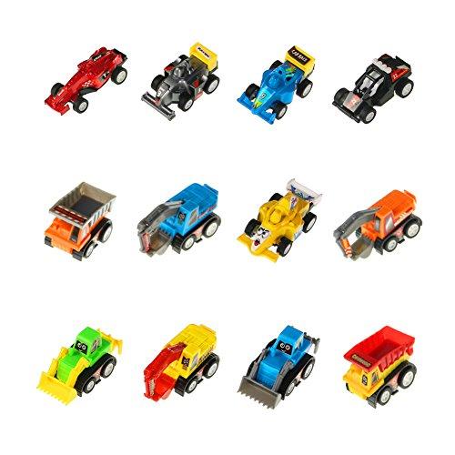 12 Stück Mini Spielzeugautos Fahrzeuge Modell Lkw Bagger Bulldozer Rennwagen Spielen für Kinder (Farbe Variieren)