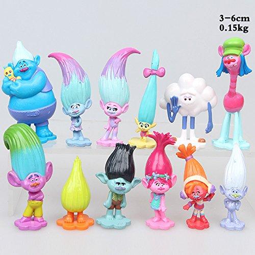 Dreamworks film 12 Stück Trolls set,3-6cm groß Film figuren,trolls kuchen topper,schönes Geschenk für Kinder (12 Stück Geschenk)