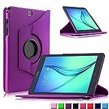 Infiland Samsung Galaxy tab A 9.7 Funda Case-PU Cuero 360°Rotación Smart Cover Cascara con Soporte para Samsung Galaxy Tab A 9.7 T550N/ T555N 24,6 cm WiFi/LTE Tablet-PC (9,7 pulgadas) (con Auto Reposo / Activación Función)(Púrpura)