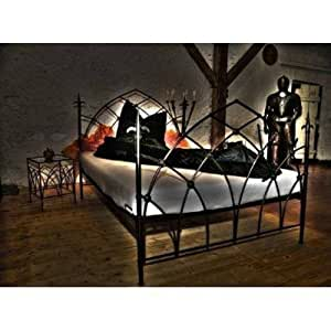 rosso di sera bett massiv metall gothic 180x200 k che haushalt. Black Bedroom Furniture Sets. Home Design Ideas