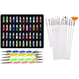 Lifestyle-You™ Combined Deal of Exciting Nail Art Tools(68 Pcs) – 48 Bottles 3D Nail Art + 15 Pcs Nail Art Brush + 5 Pcs Double Sided Nail Dotting Tool Pen. Great Gift for Girl, Women, Females.