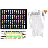 Lifestyle-Youtm Combo Of Nail Art Tools(68 Pcs)48 Bottles 3D Nail Art + 15 Pcs Nail Art Brush + 5 Pcs Double Sided Nail Dotting Tool