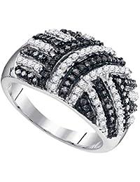 Argento sterling donna colore nero rotondo enhanced Diamond 3-pietra anello di fidanzamento da sposa 1/4Cttw Gioielli Donna
