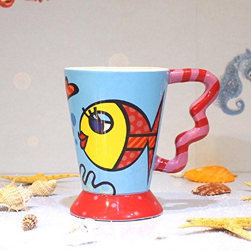 MOCER Malte Large-Caliber kreative Cartoon Tasse Keramik Schale mit Einem Löffel Kaffee Tasse Milch Bulk Liebhaber, Fisch [098] (Fisch Schalen Bulk)