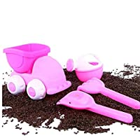 Baby Beach Toys Soft Beach Sand Toys Sand Molds Bucket Truck Shovel Rake Watering Can Great for Outdoor Play Toddlers Kids Pink